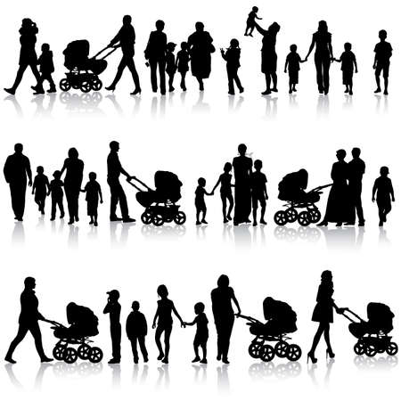 Black set of silhouettes of parents and children on white background. Vector illustration. Vectores