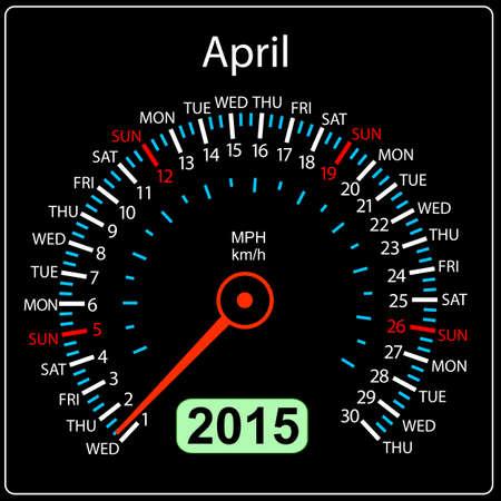 2015 year calendar speedometer car in vector. April. Vector