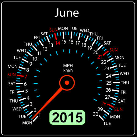 2015 year calendar speedometer car in vector. June. Vector