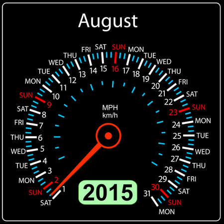 2015 year calendar speedometer car in vector. August. Vector