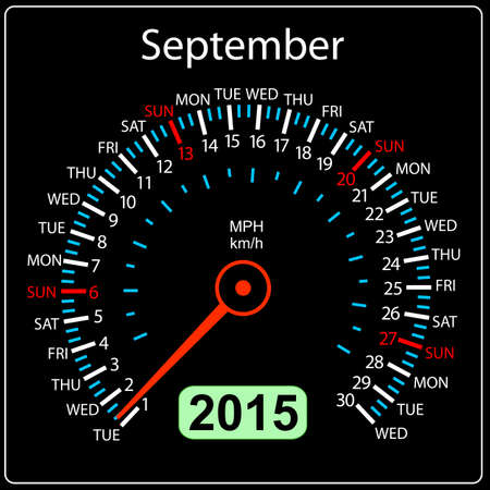 2015 year calendar speedometer car in vector. September. Vector