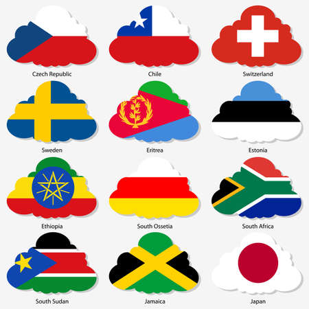 Set of Flags of world sovereign states in form of clouds Vector