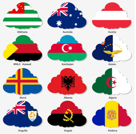 azores: Set of Flags of world sovereign states in form of clouds Illustration