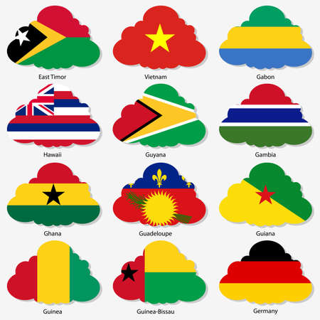 Set  Flags of world sovereign states in  form  clouds. Vector illustration. Set number 4. Exact colors. Easy changes. Vector