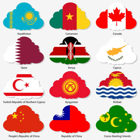 cocos: Set of Flags of world sovereign states in form of clouds Illustration