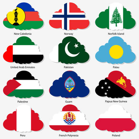 Set  Flags of world sovereign states in  form  clouds. Vector illustration. Set number 12. Exact colors. Easy changes. Vector