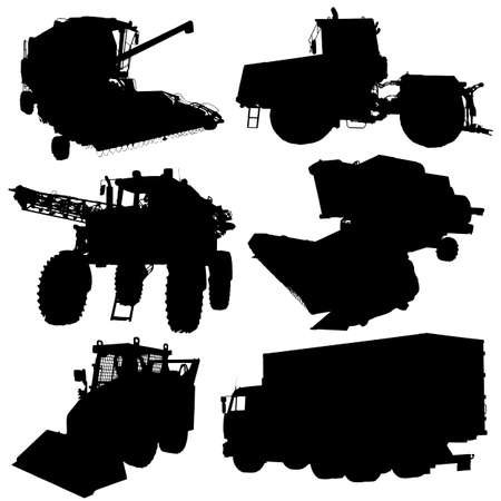 Agricultural vehicles silhouettes set. Vector illustration. Vector
