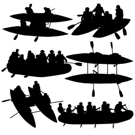 river rafting: Silhouette collection people rafters on boats,  catamaran and kayaks.  Vector illustration.