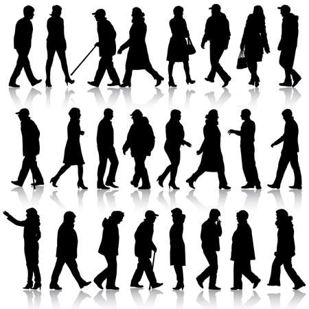 silhouettes people: Black silhouettes of beautiful mans and womans on white background. Vector illustration. Illustration