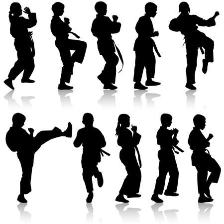 tai chi: Set of black silhouettes of karate. Sport vector illustration.