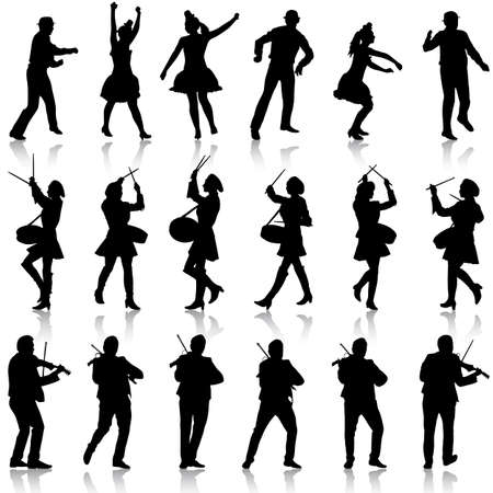 violinist: Black silhouettes of beautiful mans and womans. Drummer, violinist and acrobat on white background. Vector illustration.