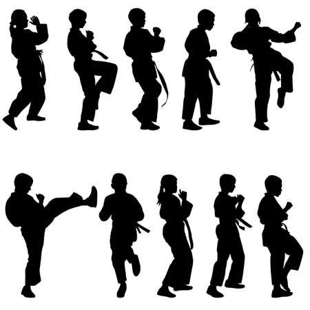Set of black silhouettes of karate. Sport vector illustration. Stock Vector - 26962989