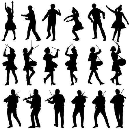 circus artist: Black silhouettes of beautiful mans and womans. Drummer, violinist and acrobat on white background. Vector illustration.