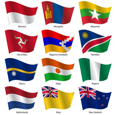 niue: Set  Flags of world sovereign states. Vector illustration. Set number 11. Exact colors. Easy changes.