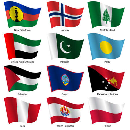 Set  Flags of world sovereign states. Vector illustration. Set number 12. Exact colors. Easy changes. Vector