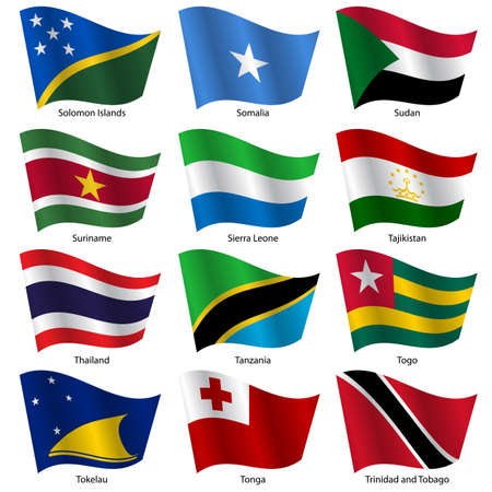 exact: Set  Flags of world sovereign states. Vector illustration. Set number 15. Exact colors. Easy changes. Illustration