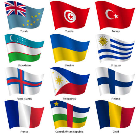 Set  Flags of world sovereign states. Vector illustration. Set number 16. Exact colors. Easy changes.