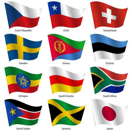세계 주권 국가의 플래그를 설정합니다. 벡터 일러스트 레이 션. 17 번을 설정합니다. 정확한 색상이. 쉽게 변경.