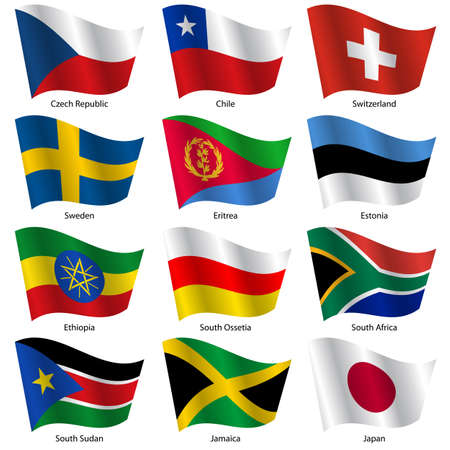 Set  Flags of world sovereign states. Vector illustration. Set number 17. Exact colors. Easy changes.
