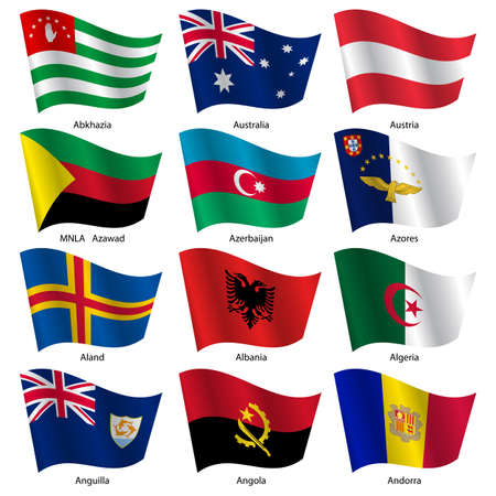 azores: Set  Flags of world sovereign states. Vector illustration. Set number 1. Exact colors. Easy changes.