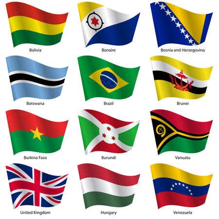 Impostare Bandiere di Stati sovrani del mondo. Illustrazione vettoriale. Numero 3 Set. Colori esatti. Cambiamenti facili. Archivio Fotografico - 26963535