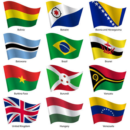 Set  Flags of world sovereign states. Vector illustration. Set number 3. Exact colors. Easy changes.