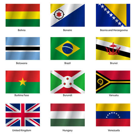 Set  Flags of world sovereign states. Vector illustration. Set number 3. Exact colors. Easy changes. Vector