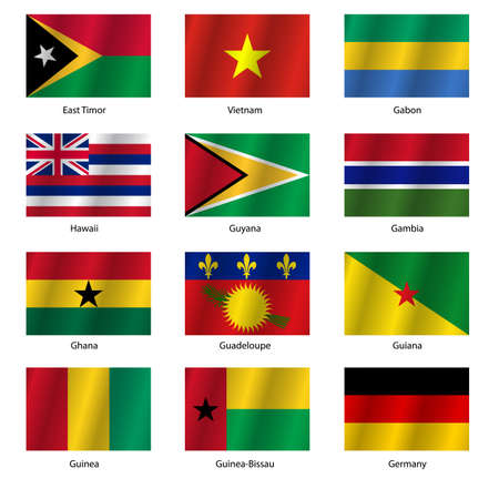 flags world: Set  Flags of world sovereign states. Vector illustration. Set number 4. Exact colors. Easy changes.