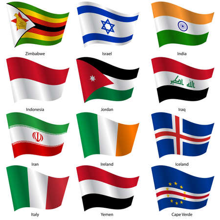 exact: Set  Flags of world sovereign states. Vector illustration. Set number 6. Exact colors. Easy changes.