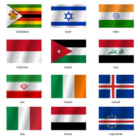 Stellen Flaggen Der Welt Souveräner Staaten. Vektor-Illustration ...