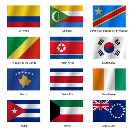 Set  Flags of world sovereign states. Vector illustration. Set number 8. Exact colors. Easy changes. Vector