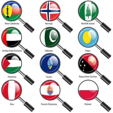 number 12: Set  Flags of world sovereign states Magnifying glass. Vector illustration. Set number 12. Exact colors. Easy changes. Illustration