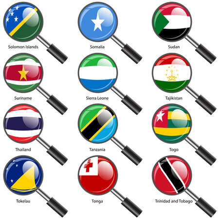 national flag trinidad and tobago: Set  Flags of world sovereign states Magnifying glass. Vector illustration. Set number 15. Exact colors. Easy changes.