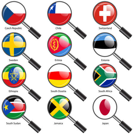 Set  Flags of world sovereign states Magnifying glass. Vector illustration. Set number 17. Exact colors. Easy changes. Vector