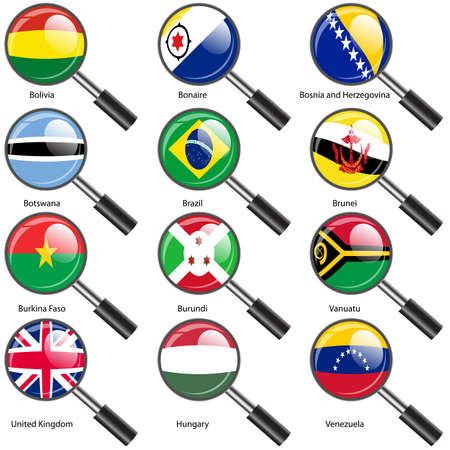 Set  Flags of world sovereign states Magnifying glass. Vector illustration. Set number 3. Exact colors. Easy changes. Vector