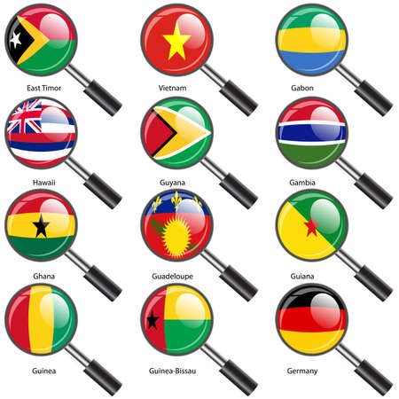 Set  Flags of world sovereign states Magnifying glass. Vector illustration. Set number 4. Exact colors. Easy changes. Vector