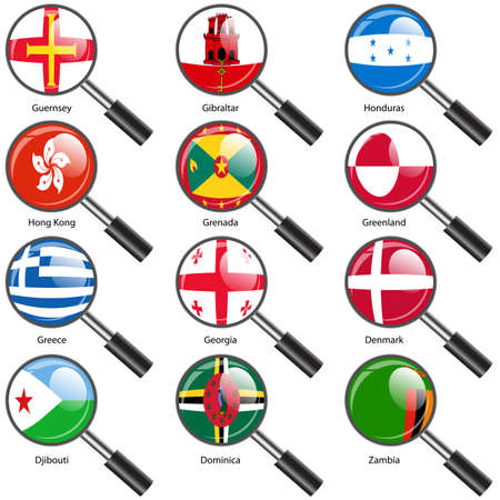 Set  Flags of world sovereign states Magnifying glass. Vector illustration. Set number 5. Exact colors. Easy changes. Vector
