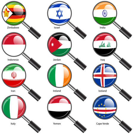 Set  Flags of world sovereign states Magnifying glass. Vector illustration. Set number 6. Exact colors. Easy changes. Vector