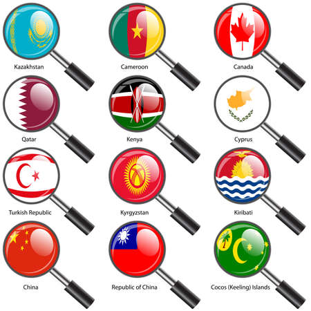 cocos: Set  Flags of world sovereign states Magnifying glass. Vector illustration. Set number 7. Exact colors. Easy changes.