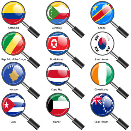 Set  Flags of world sovereign states Magnifying glass. Vector illustration. Set number 8. Exact colors. Easy changes. Vector