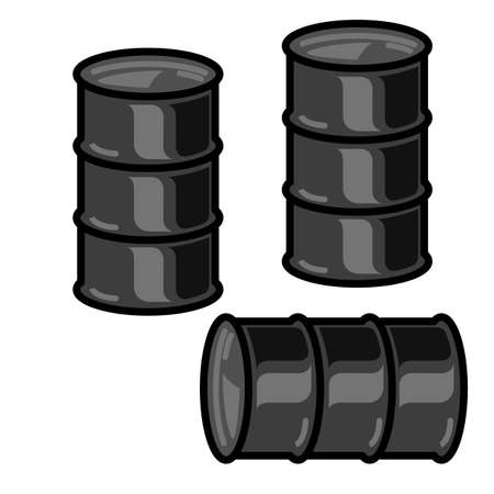metal barrels for oil on white background Stock Vector - 28025325
