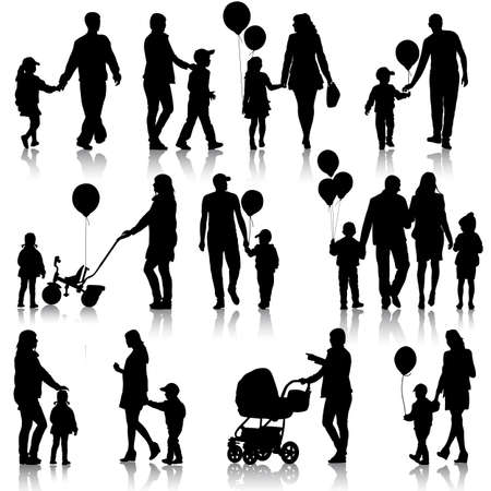 Black set of silhouettes of parents and children on white background Vectores