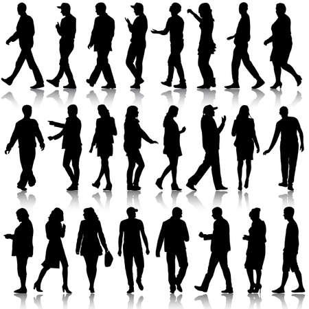 pasear: Siluetas negras de hermosas mans y la mujer en el fondo blanco. Ilustraci�n del vector.