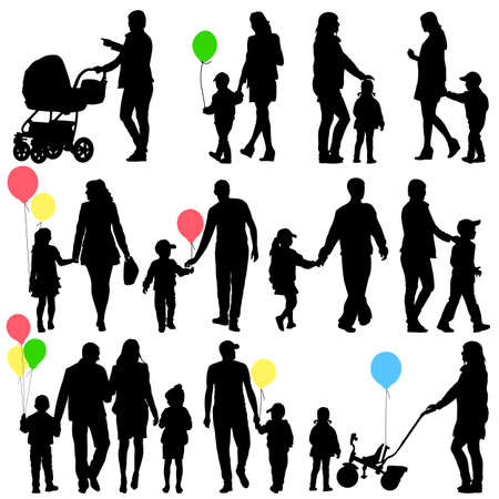 Black set of silhouettes of parents and children on white background Vector