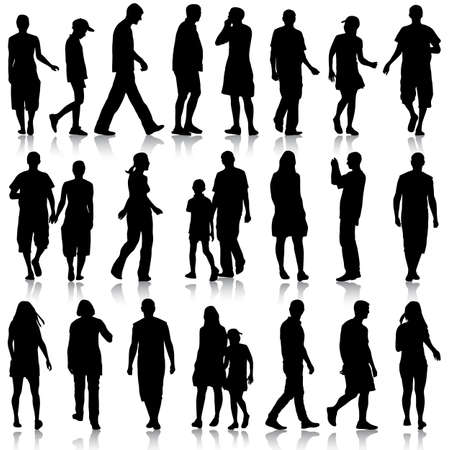 beautiful men: Black silhouettes of beautiful men and women on white background