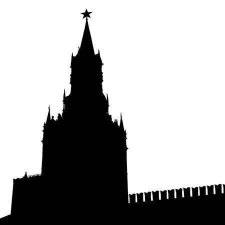 moskva: Kremlin Spasskaya Tower with clock silhouette