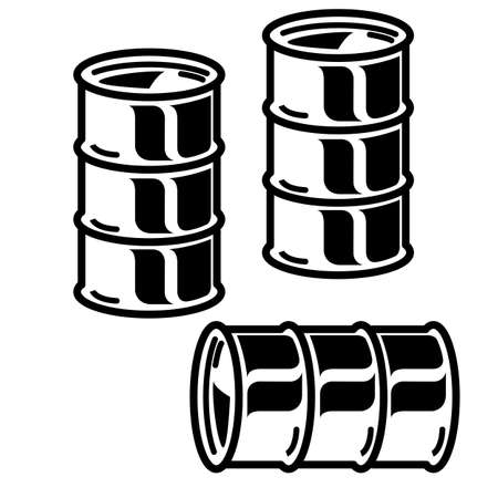 Silhouettes metal barrels for oil on white background Vector