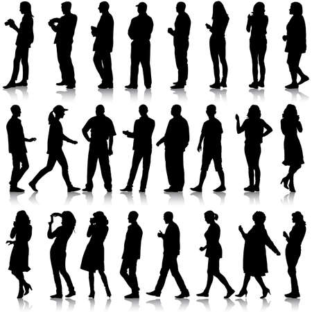 Black silhouettes of beautiful mans and womans on white background. Vector illustration. 向量圖像