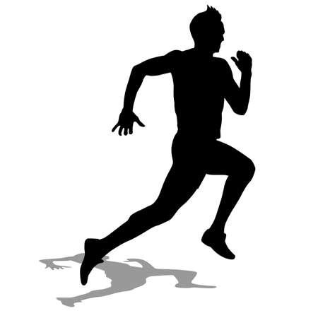 running silhouette: Runner silhouettes illustration.