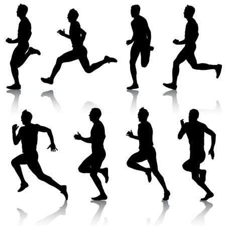 Set of silhouettes Runners on sprint Vector